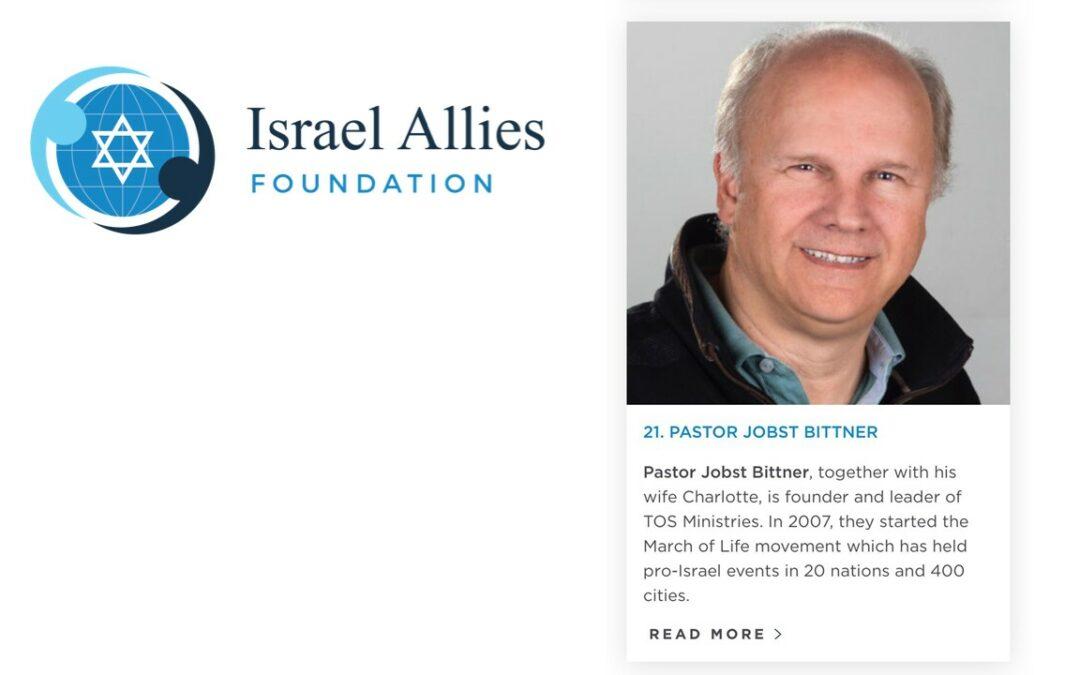 """Jobst Bittner unter die """"50 wichtigsten christlichen Verbündeten Israels"""" nominiert"""